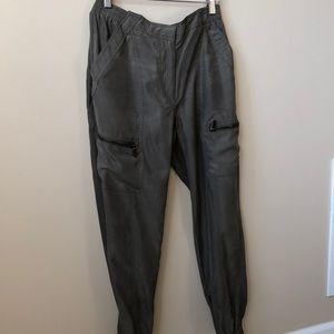 Army green silk jogger pants